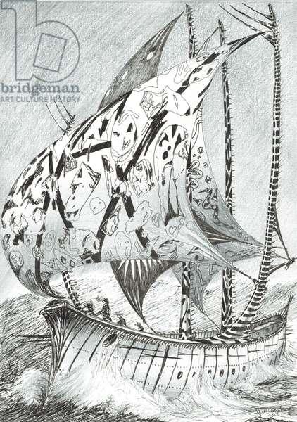Storm Creators Kara Sea, 2017, (ink and pencil on Paper)