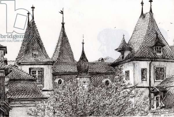 Sierre Rooftops Switzerland, 2012, (Ink on Paper)