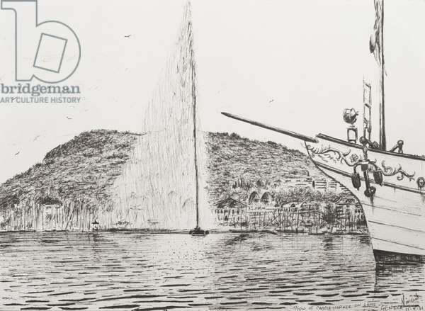 Geneva fountain and bow of pleasure cruiser, 2011 (ink on paper)