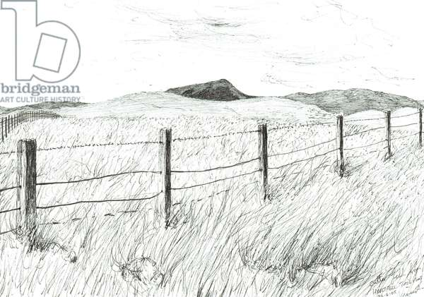 Culter Fell from Hartfell, 2005, (ink on paper)