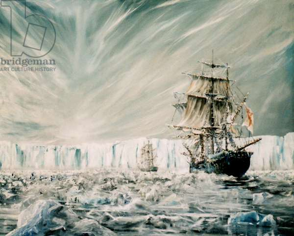 James Clark Ross discovers Antarctic Ice Shelf January 1841 (1), 2006, (oil on canvas)