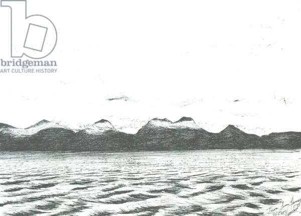 Jura scene from Ferry,2005, (ink on paper)