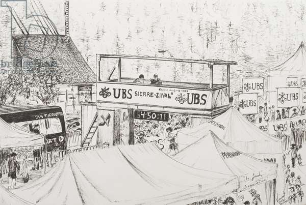 Sierre to Zinal Mountain Race, The Finish 2012. (ink on Paper)