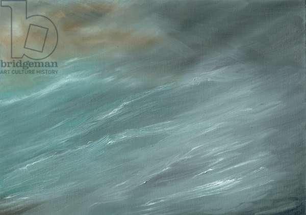 Storm in deep ocean, 2017, ( oil on canvas board)
