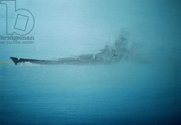 Scharnhorst in morning mist Channel Dash 1942, 2014, (oil on canvas board)