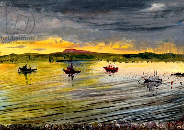 On Holy Island at sunset, 2007, (acrylic on canvas board)