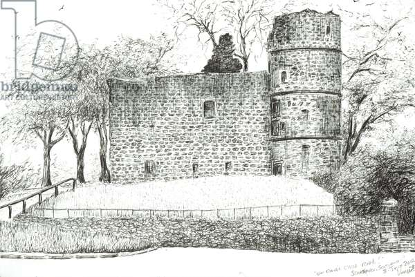 Ruin at Strathaven, 2012, (ink on paper)