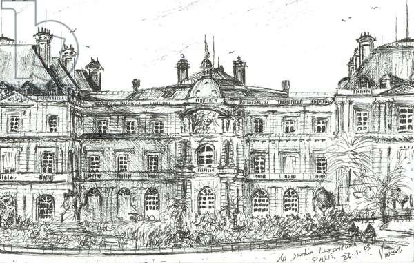le Jardin Luxemburg Paris, 2003, (ink on paper)