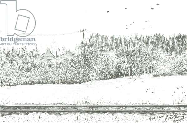 Ely station view from platform 3, 2005, (ink on paper)