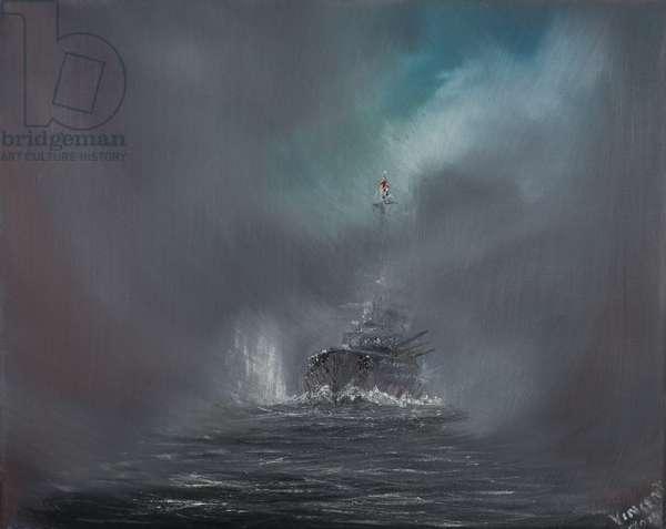 Battle of Jutland 31st May 1916, 2014,  (oil on canvas)