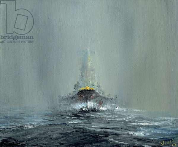 Battleship Yamato 1945, 2016, (oil on canvas board)