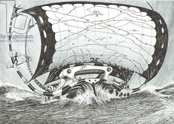 Storm Creators Chukchi Sea, 2017, (ink and pencil on Paper)