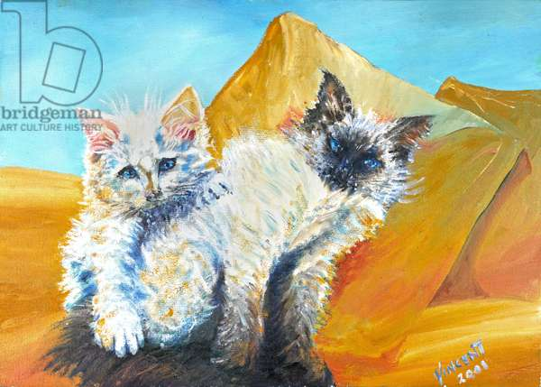 Kittens Monty and Baby, 2001, (oil on canvas)