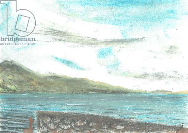 scene across from Jura, 2005, (pastels on paper)