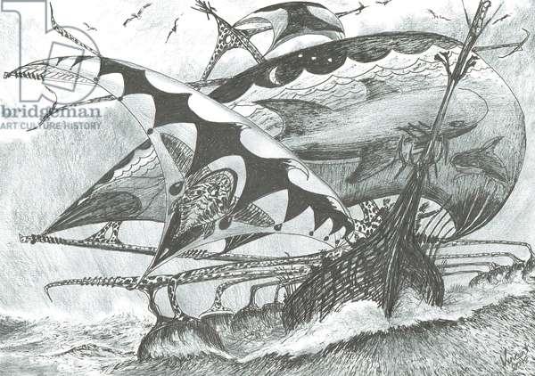 Storm creators Aegean Sea, 2018, (ink and pencil on paper)