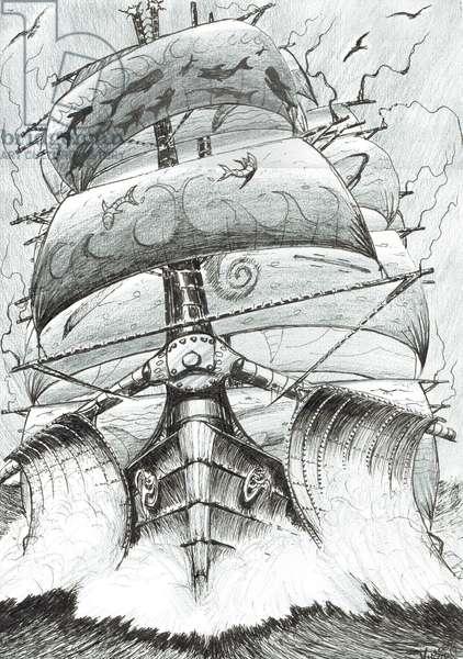 Storm Creators Alboran Sea, 2017, (ink and pencil on paper)