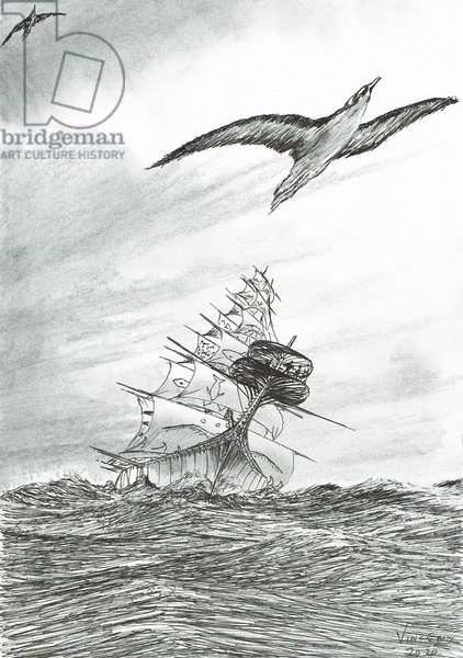 Storm Creators Mindanao Sea, 2020, (ink and pencil on paper)