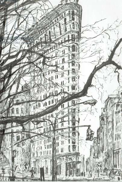 New York Flat Iron Building, 2003, (ink on paper)