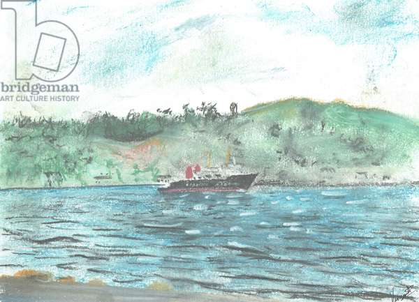Ferry to the Isle of Jura, 2005, (pastels on paper)