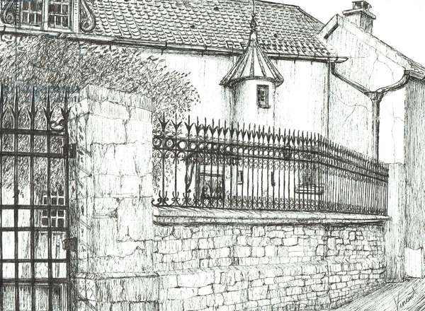 Exclusive French Restaurant at Laignes, 2007, (ink on paper)