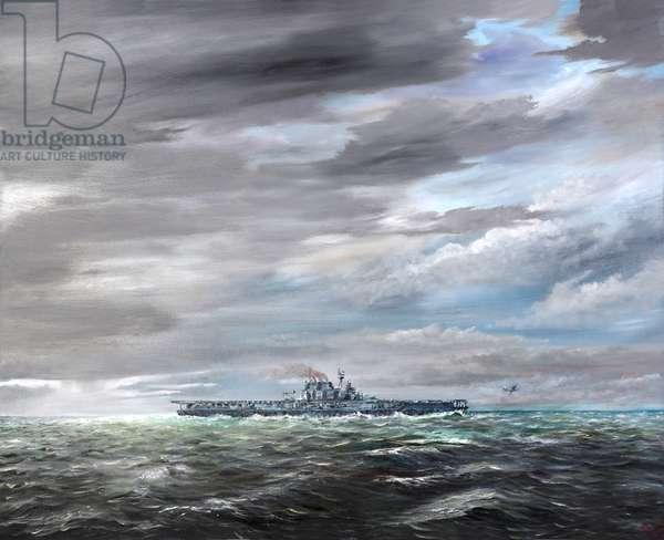 Last B25 leaves USS Hornet 18/04/1942, 2019, (oil on canvas)