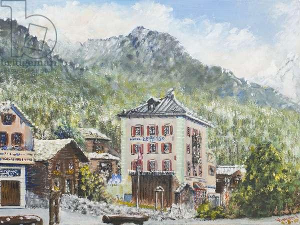 Zinal Switzerland 2007,  (acrylic on canvas board)