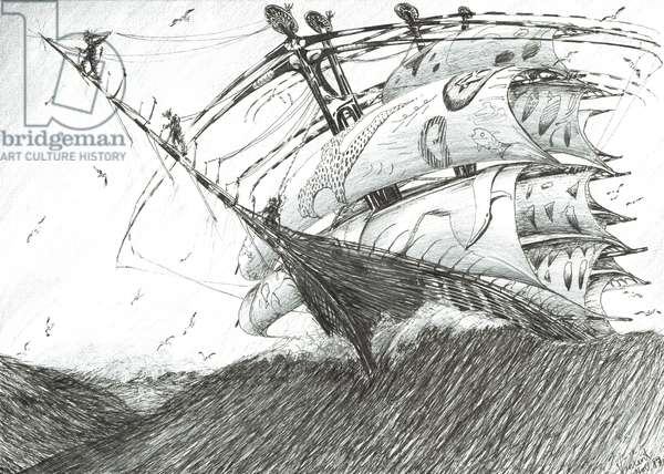 Storm Creators Barents Sea, 2017, (ink and pencil on paper)
