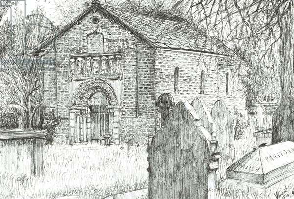 Old Church, Prestbury, 2009, (ink on paper)