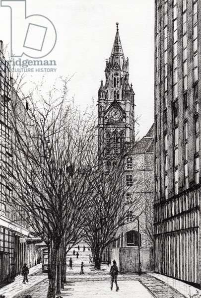 Manchester Town Hall from Deansgate, 2007, (ink on paper)