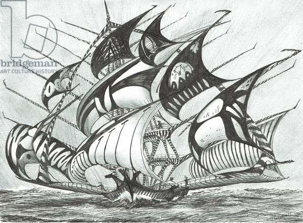 Storm Creators Visayan Sea, 2017, (ink and pencil on Paper)