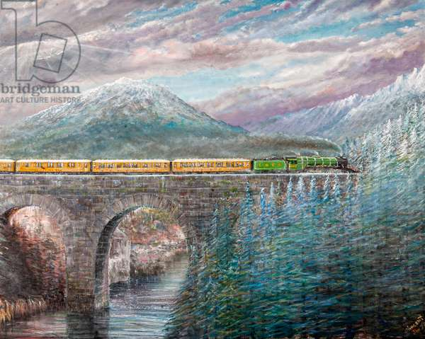 Northbound - Flying Scotsman, 2021 (oil on canvas)