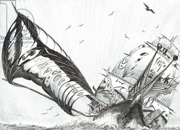 Storm Creators Archipelago Sea, 2017, (ink and pencil on Paper)