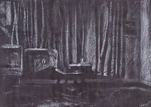 Curtains by candle light, 1997, (pastels on paper)
