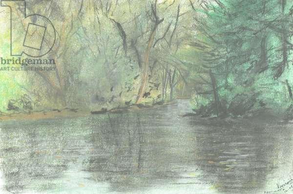 Marlborough pond, 2005, (pastels on paper)