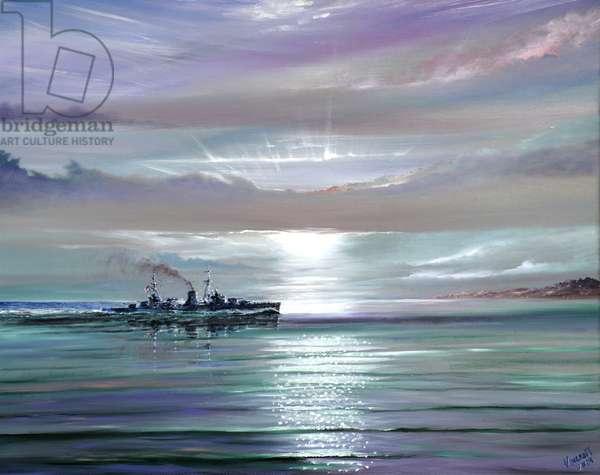 HMS Neptune Mediterranean December 1941, 2019 (oil on canvas)