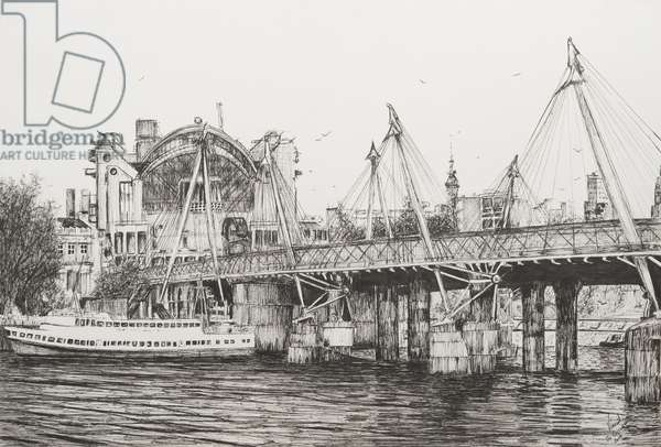 Hungerford Bridge London, 2006, (ink on Paper)