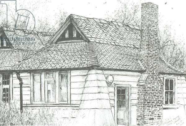 Gatehouse at Osborne house, 2008, (ink on paper)