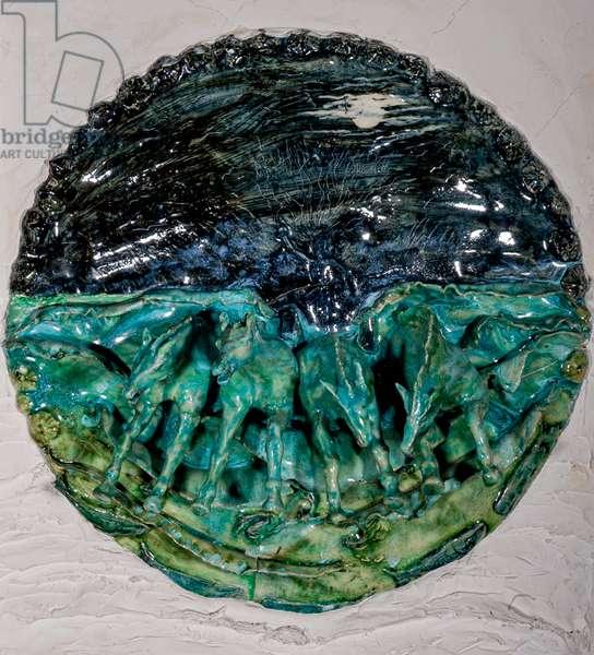 Poseidon's Storm Stallions, 1998, (glazed ceramic)