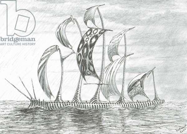 Storm Creators Dead Lake Sea, 2020, (ink and pencil on paper)