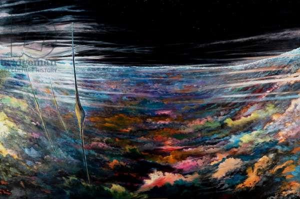 Storm Creators North Polar Vortex within Hexagonal Hurricane Saturn, 2021 (oil on canvas)
