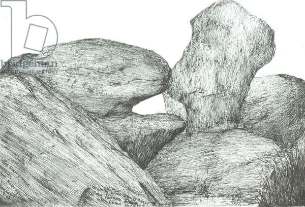 kissing rocks on Kinder Scout, 2007, (ink on paper)
