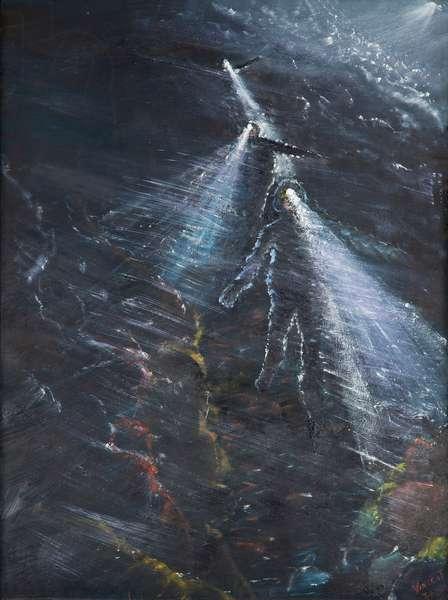Night run off Blencathera, 2016, (oil on canvas)