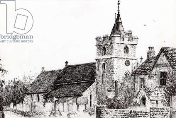 Brighstone Church I.O.W., 2008, (ink on paper)