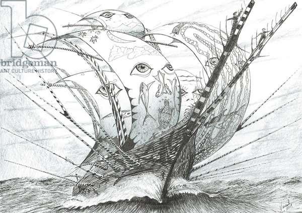 Storm Creators Bering Sea, 2019, (ink and pencil on paper)