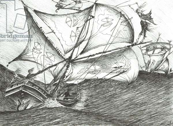 Storm Creators Indian Ocean, 2017, (ink and pencil on Paper)