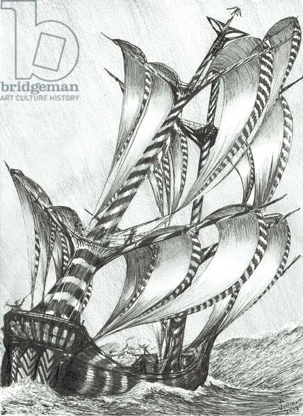 Storm Creators Solomon Sea, 2017, (ink and pencil on Paper)
