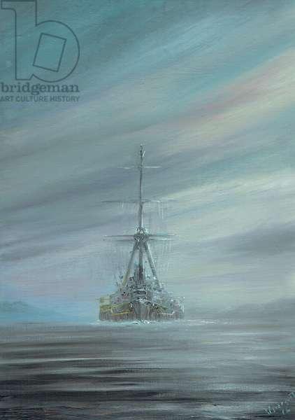 SMS Derfflinger Scapa Flow 1919, 2016,(oil / ink on canvas board)