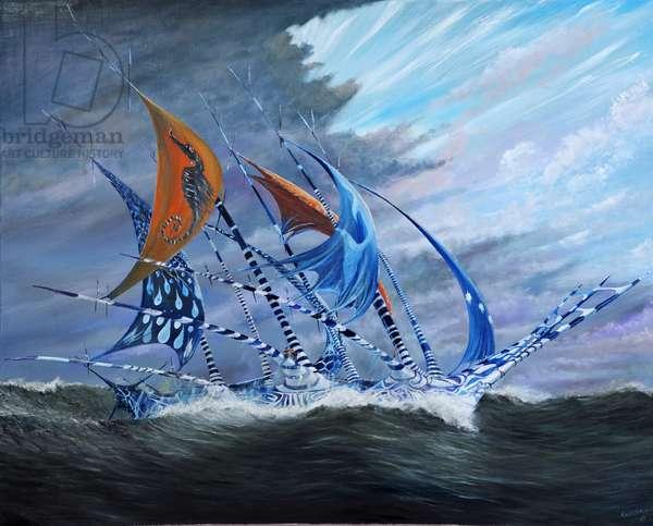 Storm creators Koro Sea, 2018, (oil on canvas)