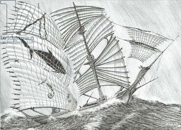 Storm Creators Savu Sea, 2017, (ink and pencil on Paper)