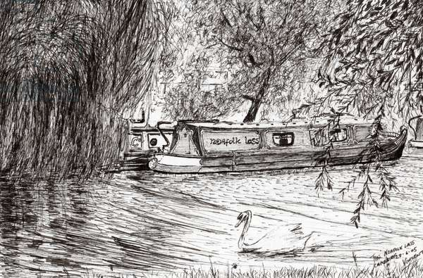 Narrow boats Cambridge, 2005, (ink on paper)